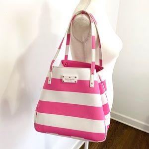 Kate Spade High Falls Sidney Pink Striped Tote Bag